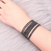 10 pcs/lot Rhinestones Sparkling Elastic Bracelet with 80pcs black color rhinestones