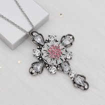 20MM Flowers snap silver Plated Pink rhinestones charms KC9317 snaps jewerly