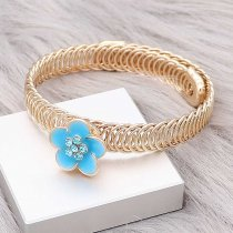 12MM Snap Gold Plated Flowers Blauer Email Charms KS7146-S schnappt edel
