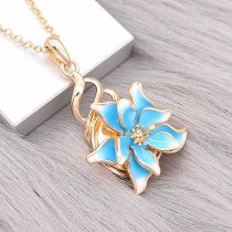 20MM Snap Gold Plated Flowers Blauer Emaille-Anhänger KC8127 schnappt edel