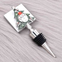 Christmas alloy red wine stopper 20MM snap with With Green rhinestones KC1222 snaps jewerly