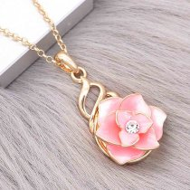 20MM Snap Gold Plated Flowers Pink Emaille mit Strass KC8122 Snaps Jewerly