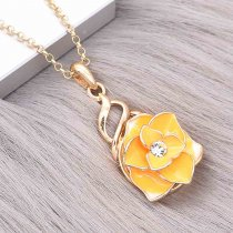 20MM snap gold Plated  Flowers yellow enamel with With white rhinestones KC8123 snaps jewerly