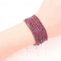 10 pcs/ lot Rhinestones Sparkling  Elastic Gun black Bracelet with 80pcs Rose rhinestones