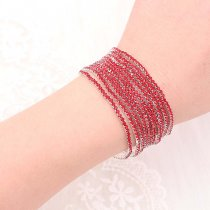10 pcs/ lot Rhinestones Sparkling  Elastic Bracelet with 80pcs Red  rhinestones