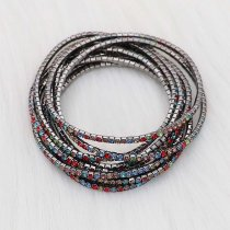 10 pcs/ lot Rhinestones Sparkling  Elastic Gun black Bracelet with 80pcs colorful rhinestones