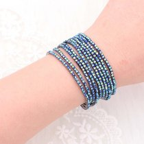 10 pcs/ lot Rhinestones Sparkling  Elastic Gun black Bracelet with 80pcs Blue color rhinestones