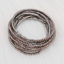 10 pcs/ lot Rhinestones Sparkling  Elastic Gun black Bracelet with 80pcs Orange rhinestones