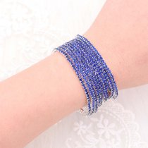 10 pcs/ lot Rhinestones Sparkling  Elastic Bracelet with 80pcs Navy Blue rhinestones