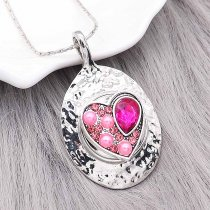 20MM heart-shaped snap silver Plated With rose-red rhinestones and pearls charms KC9322 snaps jewerly