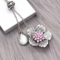 20MM Flowers Snap versilbert mit pinkfarbenen Strasssteinen KC8151 Snaps Jewerly