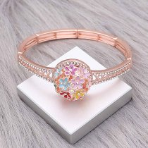 20MM Flowers snap rose-gold plated Plated With Multicolor rhinestones enamel charms KC8146 snaps jewerly