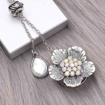 20MM Flowers snap silver Plated With   White  rhinestones charms KC8149 snaps jewerly