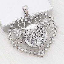 20MM Love snap Silver Plated With White rhinestones charms KC8174 snaps jewerly