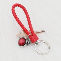 PU Red leather Key chain button fit snaps chunks KC1226 Snaps Jewelry