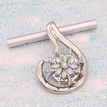 20MM design snap Silver Plated With colorful rhinestones charms KC9347 snaps jewerly