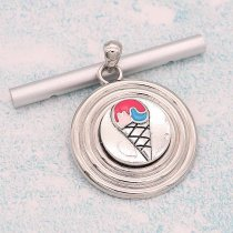 20MM Ice cream snap Silver Plated With colorful Enamel  KC8180 snaps jewerly