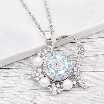 20MM Flower snap Silver Plated With blue enamel And  rhinestones KC8191 snaps jewerly
