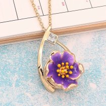 20MM Snap Gold Plated Flowers mit lila Emaille KC8202 schnappt edel