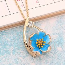 20MM Snap Gold Plated Flowers mit blauer Emaille KC8200 Snaps Jewerly