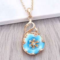 20MM Snap Gold Plated Flowers mit blauem Emaille und Strass KC8212 Snaps