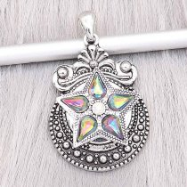 20MM Five-pointed star snap Silver Plated With Crystal charms KC9349 snaps jewerly