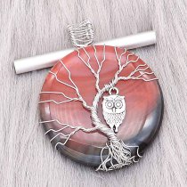 Natural stone-agate Tree of life copper Pendant of necklace Owls in the evening