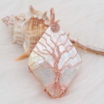Natural shell Tree of life copper Pendant of necklace