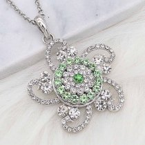 20MM snap silver Plated with green Rhinestone KC8258