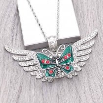 20MM Butterfly snap Silver Plated with Rhinestone and Enamel charms KC9353 snaps jewerly