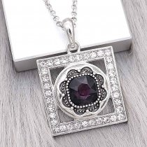 20MM design snap Silver Plated with purple Rhinestone charms KC9380 snaps jewerly
