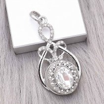 20MM design snap Silver Plated with white Rhinestone charms KC9375 snaps jewerly