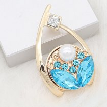 20MM Flower design snap gold Plated blue Rhinestone and Pearl KC8280