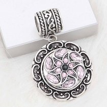20MM snap silver Plated with Pink Rhinestone KC8282