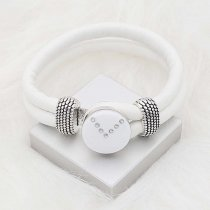 20MM snap silver Plated with Planned white enamel and Rhinestone KC8288