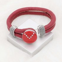 20MM snap silver Plated with Planned Red enamel and Rhinestone KC8293
