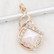 20MM snap gold Plated with white rhinestone Pearl  KC8303
