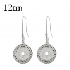 snap sliver earring with rhinestone fit 12MM snaps jewelry KS1202-S