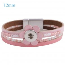 Partnerbeads 7.8 inch 1 snap button pink leather bracelets fit 12mm snaps KS0651-S