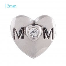 12mm mother snaps Silver Plated with white rhinestone KS5115-S snap jewelry