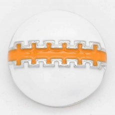 20MM Rugby snap sliver Plated with orange enamel KC6657 snaps jewelry