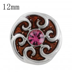 12MM design snap with rose Rhinestone and orange Enamel KS5201-S interchangeable snaps jewelry