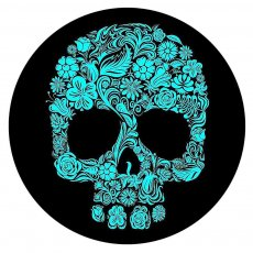 20MM Painted Skull enamel metal C5719 print snaps jewelry cyan