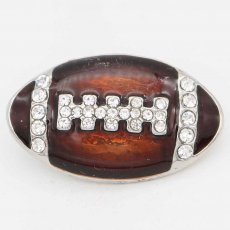 20MM Rugby with brown Francs snap sliver Plated with rhinestones KC6669 snaps jewelry