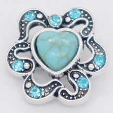 20MM loveheart snap Silver Plated with blue Rhinestone and Turquoise KC6864 snaps jewelry