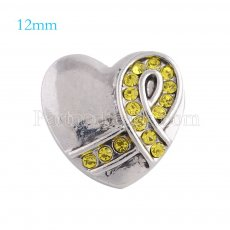 12mm ribbon snaps Silver Plated with yellow rhinestone KS5090-S snap jewelry