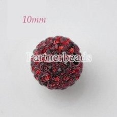 10 * 10mm Dark Red Strass Perlen