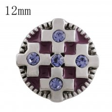 12MM cross snap with purple Rhinestone and purple Enamel KS5207-S interchangeable snaps jewelry