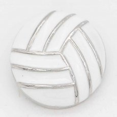 20MM Volleyball with white Francs snap sliver Plated KC6675 snaps jewelry