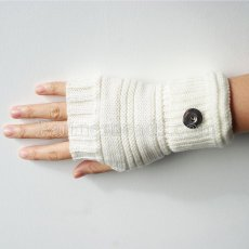 Knitted gloves fit 20mm snap button KB9794 white